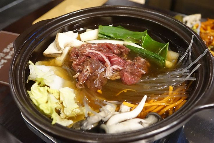 Bulgogi is a marinated beef Korean dish that is a healthy choice when eaten without rice of noodles