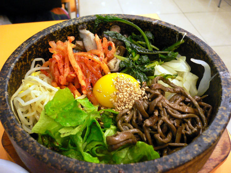 Bibimbap with lots of fresh herbs and vegetables is a healthy choice - see the calorie count for Bibimap compared with other dishes here