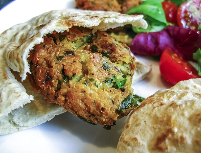 A lovely falafel can be a healthy choice provided is is well drained before serving