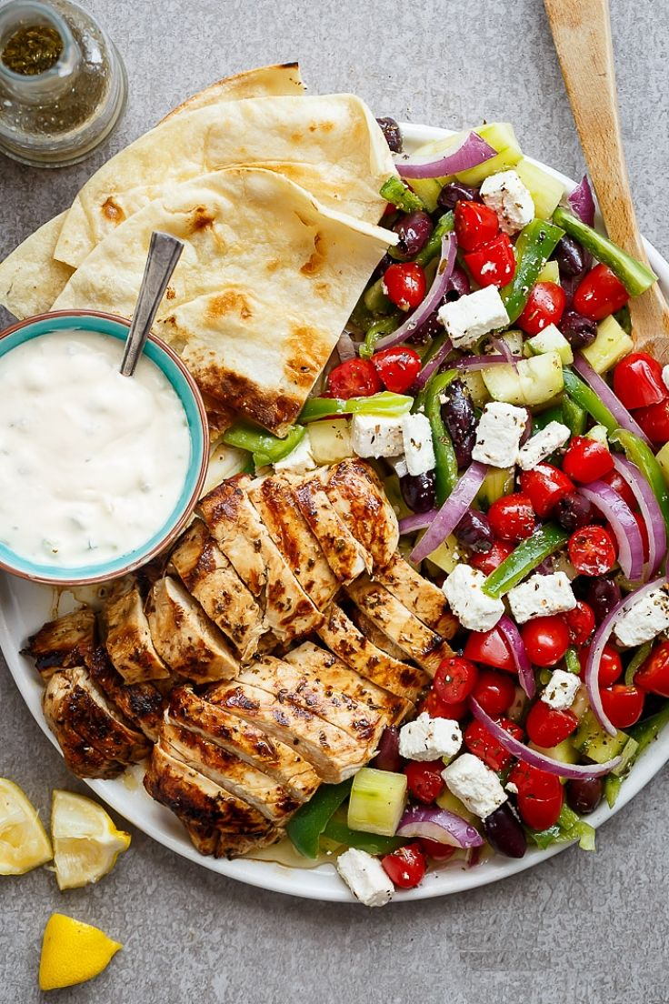 Turkish Greek Lemon Garlic Chicken Salad is a healthy choice when you go easy on the cheese and breads