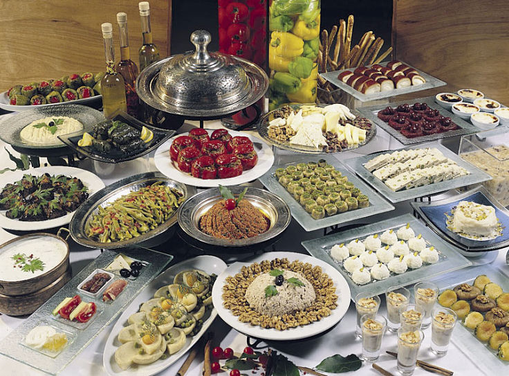 Turkish banquets are very tempting - start with a small plate to keep portions and servings under control