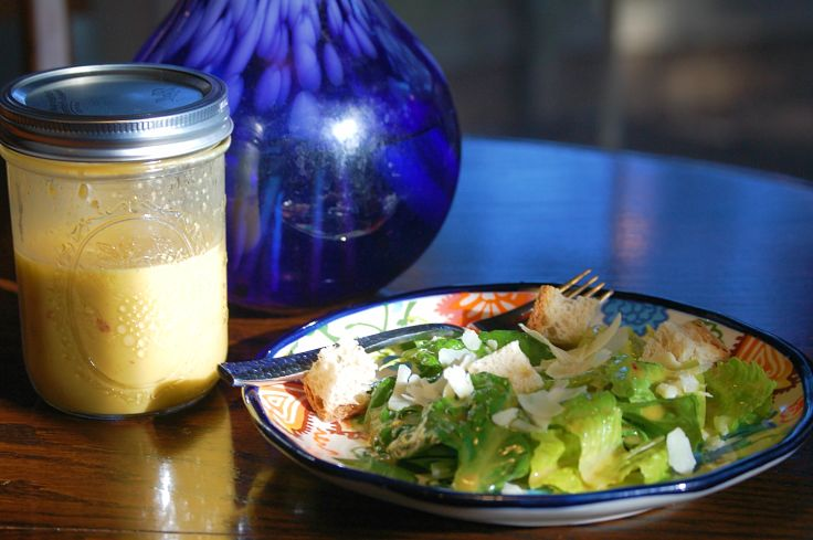Lovely orange based Caesar salad dressing - see the great salad dressing recipes here