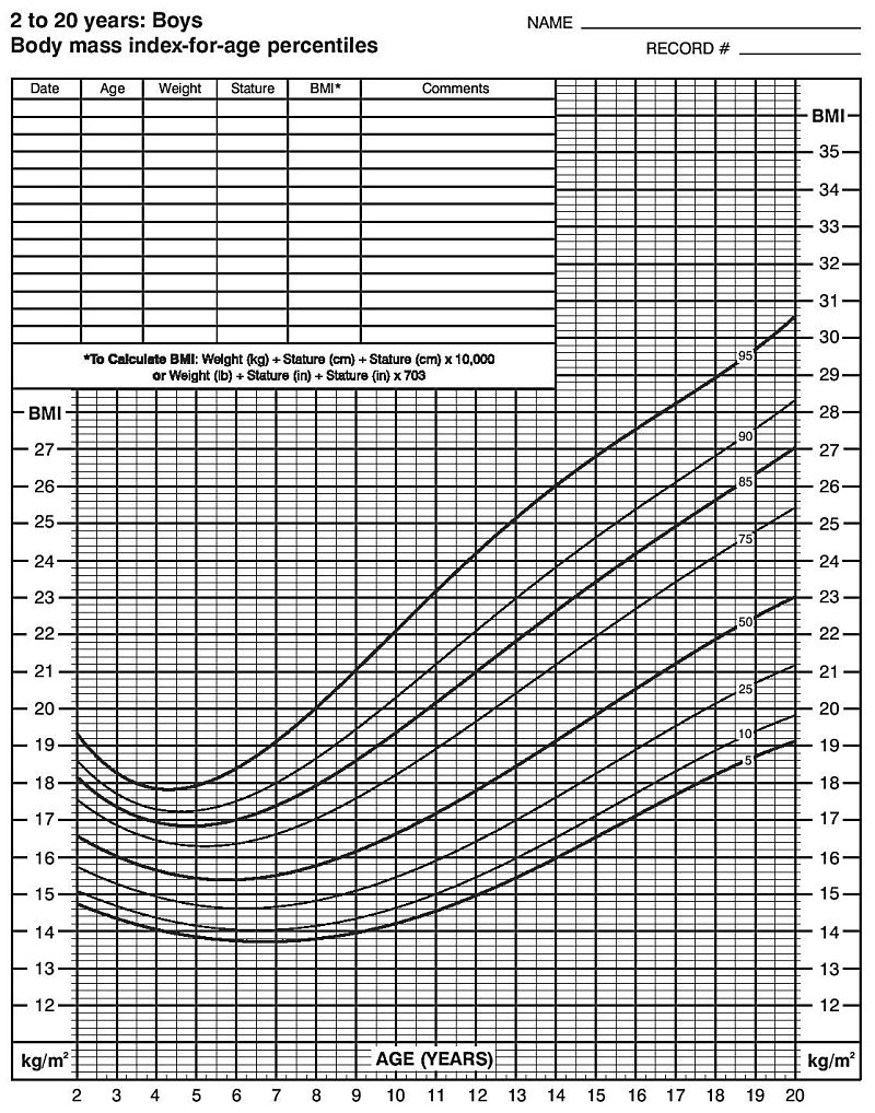 BMI Index chart for Boys for tracking purposes