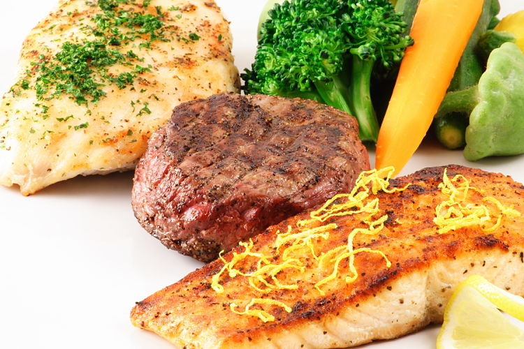 Meat and fish with green vegetables is a good high protein - low carbohydrate meal which includes color and texture variety