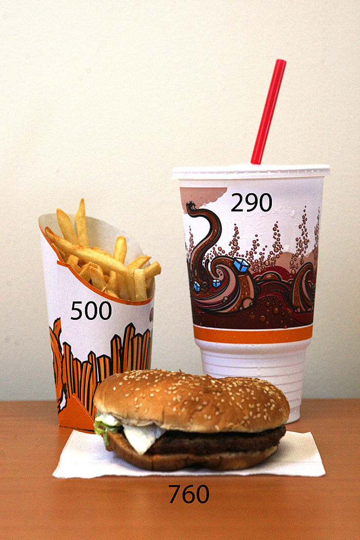 The average 'UpSized' meal at fast food outlets averages 1,550 Calories which is about 80% of the daily allowance for men and women